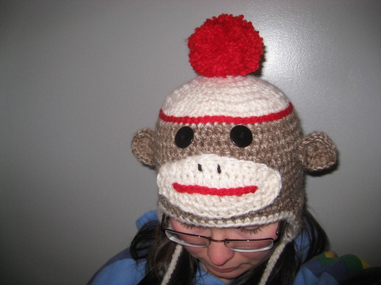 Free crochet pattern for a sock monkey hat manet for sock monkey hat crochet pdf pattern by wesleyannefibers on bankloansurffo Images