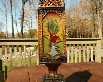 Antique Hand Painted 4 Panel Lamp