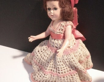 Vintage Large Celluloid Sleepy Eye Crochet Doll Circa 1950 s