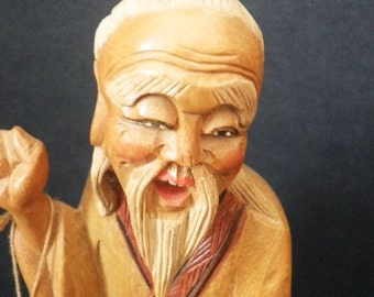 Incredible Hand Carved Wood Statue of Elder Asian Man