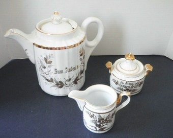 Antique Large C T AltWasser Coffee Tea Pot Creamer and Sugar Canister