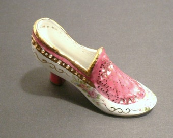 Collectible Limoges High Heel China Burgundy Shoe
