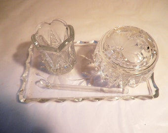 Etched Cut Glass Salt Server, Spoon, Tray  and Toothpick Holder
