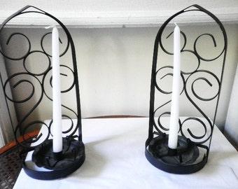 Pair Metal Hanging Candle Sconces