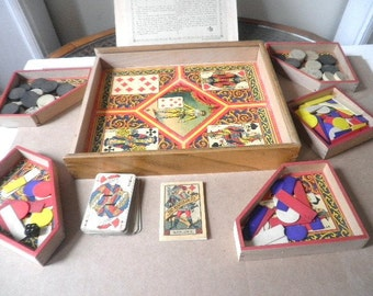 French Nain Jaune Board Game In Wooden Case Circa 1950s