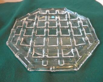 Rare Tiffany & Co. Bamboo Design Cut Crystal Platter