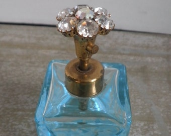 Aquamarine Glass Perfume Bottle With Bohemian Crystal Top