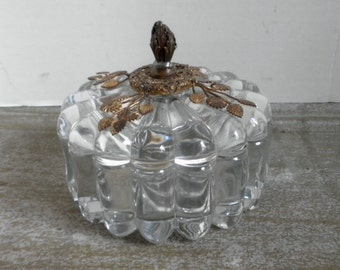 Sunflower Leaf Covered Vanity Jar Circa 1930s