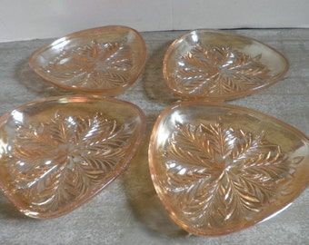 Vintage Iridescent Gold Carnival Glass Snack  Dishes set of 4