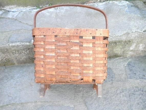 Large Antique Split Oak Magazine Basket with Handle