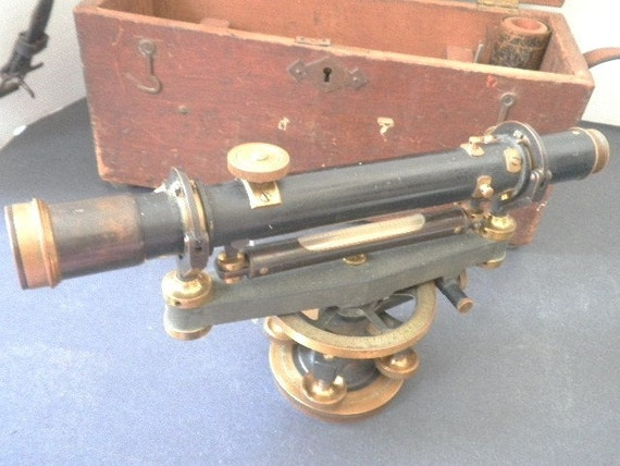 Antique Wye Level Transit with Oak Tripod and Carrying Case 1900s