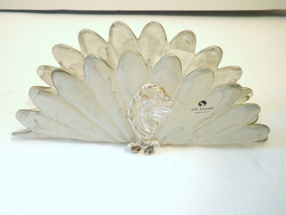 Frosted Glass Murano Napkin Holder with Angel