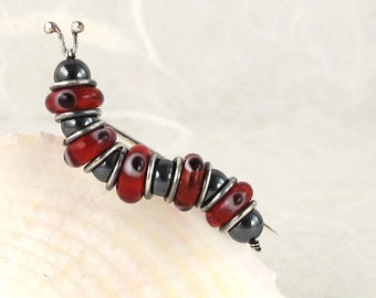 Sterling Silver 925 Hematite Lampwork Red/Black Caterpillar Pin/Brooch