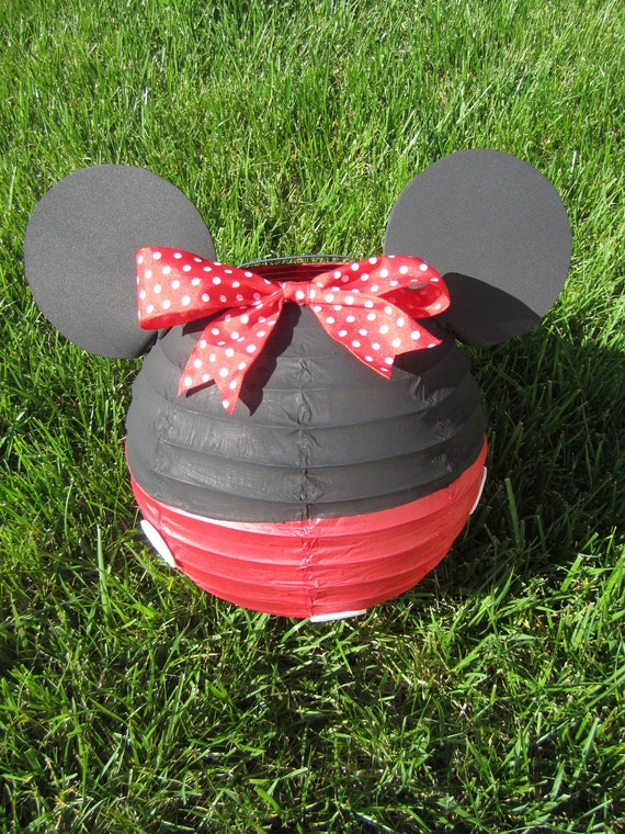 Minnie Mouse Inspired Paper Lantern Decoration in Red or Light Pink