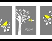 "Personalized Custom Love Birds Family Tree - Wedding Gift Valentine's Day Gift Birch Tree Art Print  - Set of three 5""x7""s (Yellow/Gray)"