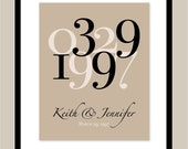 "Custom Anniversary or Wedding Date Print - Anniversary or Wedding Gift - 11""x14"" Art Poster Print"