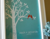 """Wedding Gift Bridal Shower Gift Personalized Custom Love Birds Family Tree - Gift for Her - Anniversary or Wedding Gift - 8""""x10"""" (Red/Teal)"""