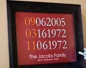 "Custom Family Birth Date and Anniversary Print - 11""x14"""