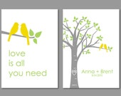 Yellow and Grey Wedding Gift Personalized Love Bird Print Set - Birds on Branch - Love is All You Need - Set of 2 prints- 5x7s