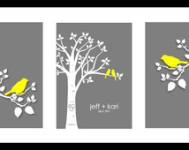 "Wedding Gift Personalized Custom Love Birds Family Tree - Love Birds on Branch - Set of three 5""x7""s (Yellow/Gray)"