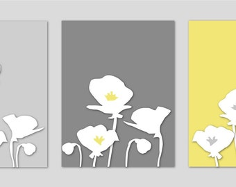 Botanical Prints Yellow and Gray Art Prints Bathroom Art Nursery Art Poppies Yellow and Gray Silhouette Series - Set of three 8x10s