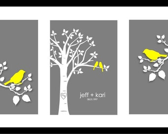 "Personalized Custom Love Birds Family Tree - Wedding Gift Valentine's Day Gift Birch Tree Art Print  - Set of three 5""x7""s (Yellow/Gray)"