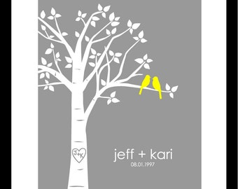 "Wedding Gift Yellow and Gray Personalized Custom Love Birds Family Tree -  First Anniversary Paper Gift - 8""x10"" Poster Print (Yellow/Gray)"