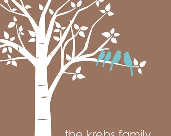 "Mother's Day Gift Gift for Mom Personalized Custom Love Birds Wedding Family Tree Print Housewarming Gift - 8""x10"" You choose Colors"