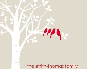 Wedding Gift - Anniversary Gift - Custom Love Bird Family Tree - 8x10 Print (Red/Stone or you choose your own colors)