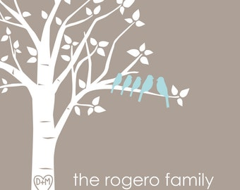 "Mother's Day Gift Personalized Love Birds Family Tree Art Print Anniversary Gift Mother's Day Gifts for Her - 11""x14"" (Taupe/Pale Blue)"
