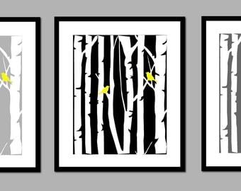 "Yellow and Gray Wall Art Bedroom Decor Birch Tree Art Love Bird Art Yellow and Grey Home Decor Prints - Set of 3 - 11""x14"""