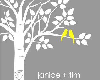 Guest Book Tree Personalized Wedding Print - 16x20 - 50 Signature Keepsake Guestbook Poster