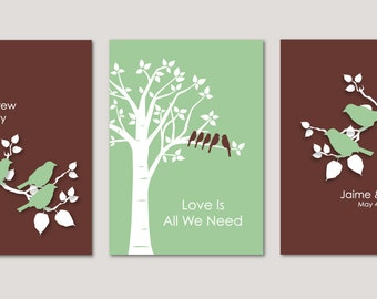 "Wedding Gift - Personalized Custom Love Birds Family Tree - Bird on Branch - Set of three 5""x7""s (Light Green/Brown)"