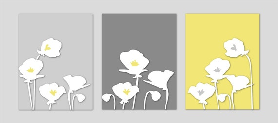 Flower Wall Art, Floral Prints, Yellow Grey Gray Poppy Flower Print Trio, Bathroom Art, Bedroom Art, Bath Art, Home Decor Wall Art