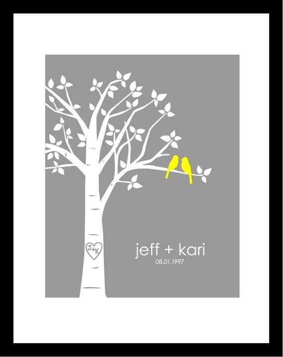 "Personalized Custom Love Birds Family Wedding Tree - Wedding Gift or Anniversary Gift - 11""x14"" (Yellow/Gray)"