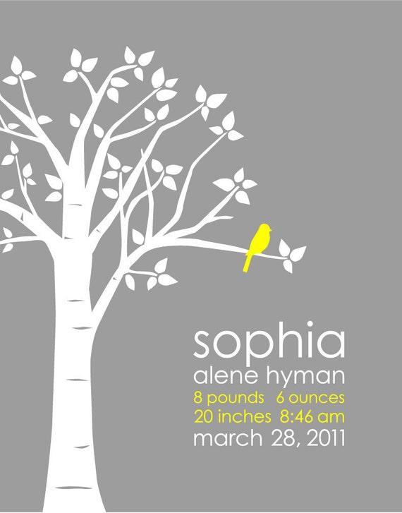 "Personalized Custom Baby Name/Birthdate Love Bird Art Print Birth Stats Poster for Nursery - 16""x20"" print You Choose Colors"