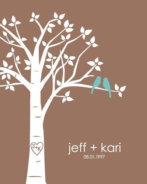 """Personalized Custom Love Birds Family Tree - Paper First Anniversary - Wedding GIft -11""""x14"""" (Teal/Mocha)"""