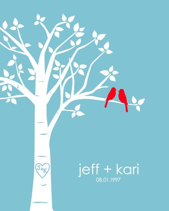 "Personalized Custom Love Birds Family Tree - 8""x10"" (Red/Blue)"