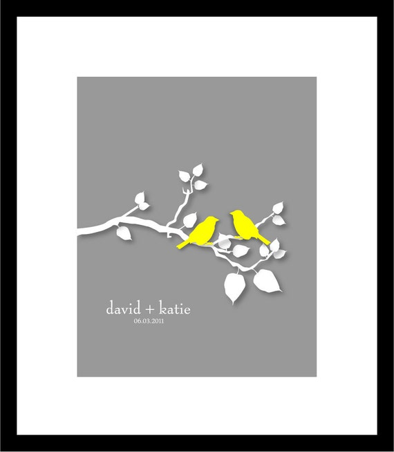 "Custom Anniversary Personalized Wedding Couple Print - Family Tree Print - Love Birds on Branch - 8""x10"" Art Print"