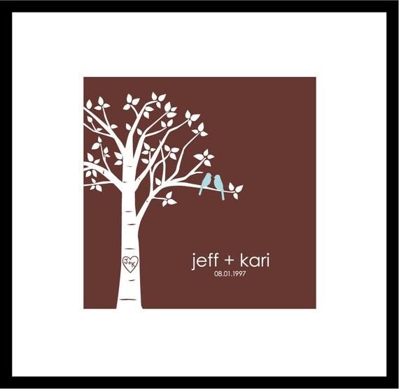 "Personalized Custom Love Birds Wedding Tree - Square 8""x8"" (Pale Blue/Dark Brown)"