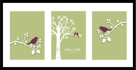 "Wedding Gift Anniversary Gift Personalized Custom Love Birds Family Tree - Bird on Branch - Set of three 5""x7""s (Eggplant/Olive)"