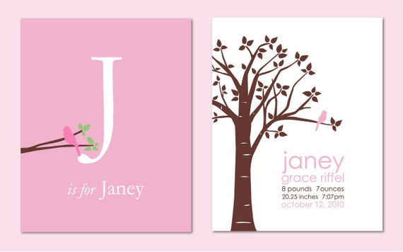 """Baby Name Wall Art, Baby Name Sign, Baby Girl Gift, Girl Nursery Art, Baby Girl Nursery Wall Art,  Set of two 8""""x10"""" prints (Pink/White)"""