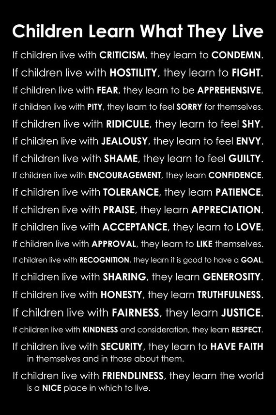 Children Learn What They Live Poem by Dorothy Law Nolte - Subway Art Poster - Teacher Classroom Art Poster 11x14 Print