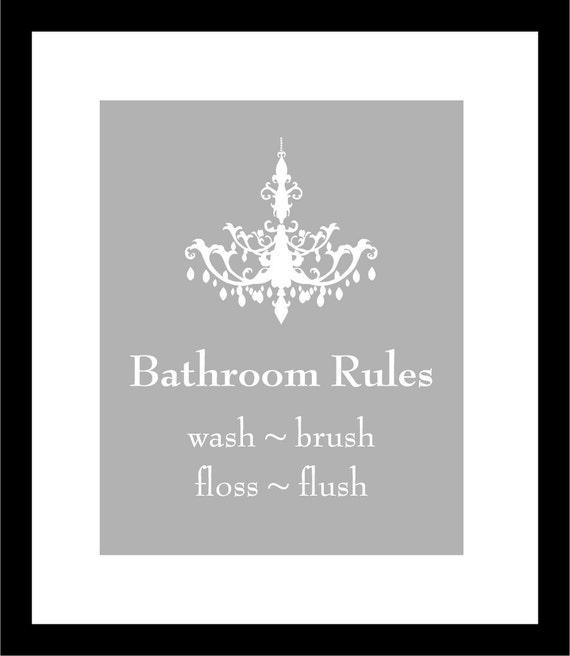 "Bathroom Art for Bath Wash Flush Brush Chandelier Silhouette Bathroom Rules - Wash Your Hands - Brush Your Teeth - 16""x20"" Art Poster Print"