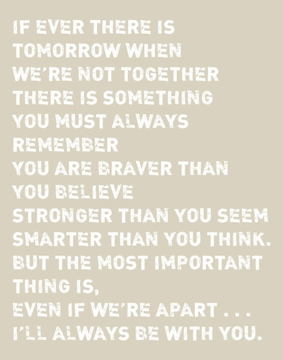 """Inspirational Quote Nursery Art Boy Room Decor Girl Room Decor You Are Braver Than You Believe - Stronger Than You Seem Print - 11""""x14"""""""