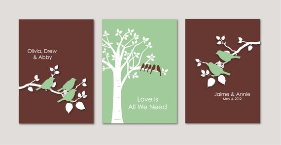 Family Tree Wedding Gift: Wedding Gift Personalized Custom Love Birds Family Tree