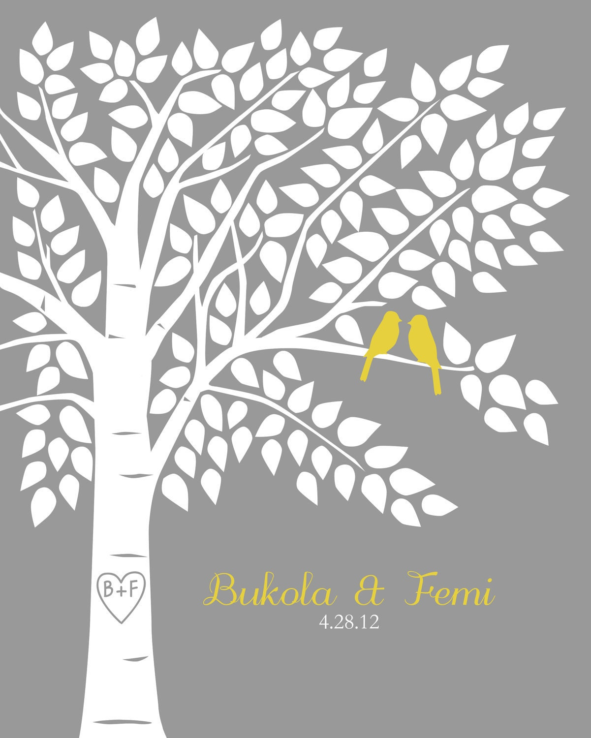 Guest book tree personalized wedding print 16x20 150 for Wedding tree guest book free template