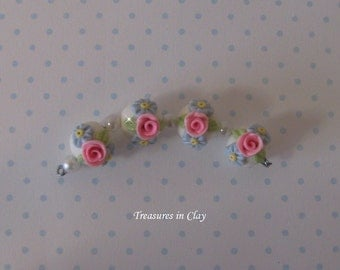 Rosebuds and Daisies - Polymer Clay Beads
