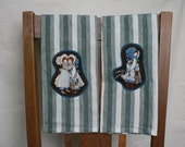 Set of two, Holly Hobbie appliqued kitchen towels