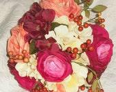 Ready to Ship...Tuscany Orange and Fuchsia Ranunculus...Autumn Wedding Set..Fall Bridal Bouquet....Silk Bouquet with Boutonniere